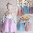 USA Kids Baby Girls Unicorn Bridesmaid Party Pageant Formal Tulle Dress Clothes