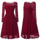 UK Women Ladies Vintage Lace Swing Skater Party Evening Retro Dress Size 8-22