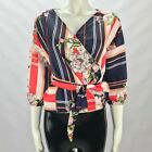 WOMENS LADIES SATIN SILK STRIPE FLORAL WRAP OVER BELTED TIE BLOUSE SHIRT TOP