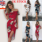 Womens Off Shoulder Floral Midi Dress Frill Ruffle Bardot Summer Party Sundress