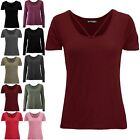 Womens Ladies Casual Baggy Round V Neckline Jersey Short Sleeve Basic T Shirt