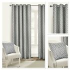 Rapport Milano Silver Fully Lined Eyelet Curtains 4 Sizes
