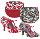 Ruby Shoo Willow Fabric Bootie Pumps & Matching Miami Bag Navy Floral Red Tulip