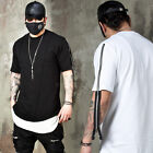 NewStylish Mens Casual Fashion Tee Top Long Zippered Sleeves Round Hem T-shirts