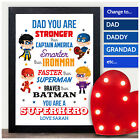 PERSONALISED Fathers Day Gifts SUPERHERO DAD DADDY GRANDAD Keepsake Presents