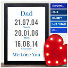 FATHERS DAY PERSONALISED GIFTS for Dad Daddy Grandad Keepsake Memorable Dates