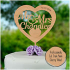 HEART Shaped Personalised Wedding Cake Topper Hard Wood Wedding Cake Decoration