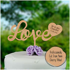 Rustic Wooden LOVE HEART Personalised Cake Topper Mr Mrs Wedding Cake Decoration