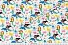 Mermaid Dolphin Starfish Jelly Fish Fabric Printed by Spoonflower BTY