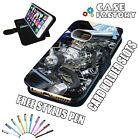 V8 Supercharge Muscle Car Hot rod Engine - LEATHER FLIP WALLET PHONE CASE COVER