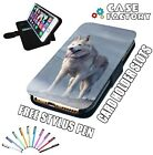 White Snow Mountain Wolf Beast - LEATHER FLIP WALLET PHONE CASE COVER + STYLUS