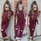 US Toddler Kids Baby Girls Holes Romper Bodysuit Jumpsuit Outfits Set Playsuit