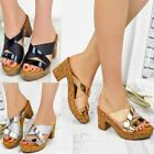Womens Ladies Low Heel Wedge Cork Sandals Silver Black Wedding Party Casual New