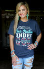 Crazy Train Women's Short Sleeve One Nation T-Shirt, Navy Blue