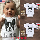 "US Baby Boy Girl ""Dog is Best Friends"" Romper Jumpsuit Bodysuit Clothes Outfits"