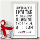 Personalised 5th Fifth Wedding Anniversary Gifts For Couples 5th Anniversary