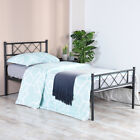 Twin Full Metal Bed Frame Platform Bedroom Mattress Foundation with Headboard