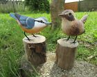 Fair Trade Hand Carved Made Wooden Nuthatch Wren Garden Bird Ornament Sculpture