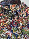 Blue Paisley Shirt Long Sleeve Relco Button Down Retro Slim Fit Mod 60s S - 3XL