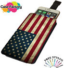 American USA Vintage Country Flag - Universal Leather Phone Case Cover