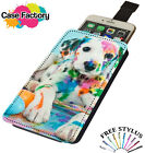 Cute Dalmatian Dog Puppy Covered In Paint - Universal Leather Phone Case Cover