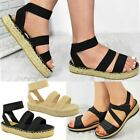 New Womens Ladies Wide Fit Stretch Comfy Sandals Cushioned Comfort Shoes Size
