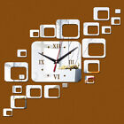 Modern Mirror 3D Clock Sticker Square DIY Watches Office Home Living Room Décor