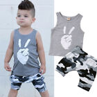Toddler Kids Baby Boys Tops T-shirt Camo Short Pants 2Pcs Outfits Set Clothes