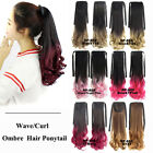 Wave Curl Cosplay Ombre Synthetic Hair Ponytail Drawstring Clip In Hairpiece