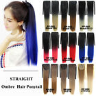 Straight Cosplay Ombre Synthetic Hair Ponytail Drawstring Hairpiece Clip In