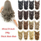 100g 24'' Wave Fish Line Hair Extensions Synthetic halo Hairpieces One Piece
