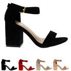 Womens Wide Mid Block Heel Suede Ankle Strap Fashion Casual Shoe Sandals UK 3-8