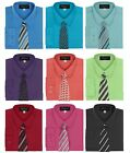 Boy's Dress Shirt & Tie Set Long Sleeve- Many Colors Available