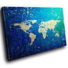 ZAB1040 Old Blue World Map Retro Canvas Abstract Home Wall Art Picture Prints