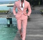 Fashion Pink Men Groom Tuxedos Wedding Suit Slim Fit Dinner Prom Suit Custom
