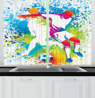 """Youth Kitchen Curtains 2 Panel Set Window Drapes 55"""" X 39"""" Ambesonne"""