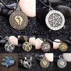 Nordic Raven Wolf Viking Hammer Silver Pendant Leather Cord Necklace Jewelry Uk