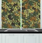 "Camo Kitchen Curtains 2 Panel Set Window Drapes 55"" X 39"" Ambesonne"