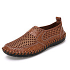 Mens Leather Casual Shoes Driving Loafers Slip On Flats Breathable Elastic Comfy
