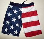 NWT BIOWORLD AMERICAN FLAG FOURTH OF JULY SWIM TRUNK BOARD SHORTS sizes S M L XL