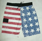 NWT BIOWORLD AMERICAN FLAG FOURTH OF JULY SWIM TRUNK BOARD SHORT sz XXL 2XL