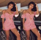 Women Strapless Short Sleeves Bowknot Striped Clubwear Party Jumpsuit Rompers