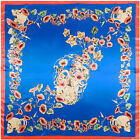 "2018 Women's Printed Fashion Silk-Satin Square skull morning glory Scarf 35""x35"""