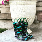 Внешний вид - NEW Boy's MEMBER'S MARK Black Dinosaurs Light Up Rain Boots Toddler Size 9 10 11