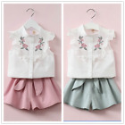 2pcs Kids Baby Girls Summer Korean Embroidery Sleeveless Blouse+Shorts Clothes