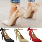 Womens Black Office Smart Work Shoes Pumps Mid High Heel  Ankle Strap Size