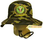 WOODLAND CAMO US ARMY INSIGNIA LOGO BOONIE OUTDOOR BUSH CAP BUCKET HAT S/M L/XL