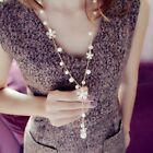 Fashion Pearl Flower Pendant Necklace Women Lady Long Sweater Chain Jewelry Gift image
