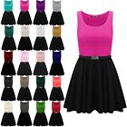Womens Ladies  Sleeveless Belted Franki Top Flared Contrast Swing Skater Dress