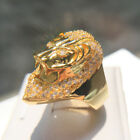 Elvis Presley TCB Concert Lion Head Crystal Iced Out Gold Plated S.8-12 Men Ring